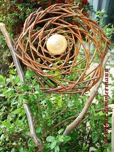 Angeregt durch Christines Fotoausflüge sind wir hi - Jardin Paysager Bambou Backyard Fences, Garden Fencing, Outdoor Landscaping, Outdoor Art, Outdoor Gardens, Willow Weaving, Garden Deco, Flower Garlands, Farm Yard