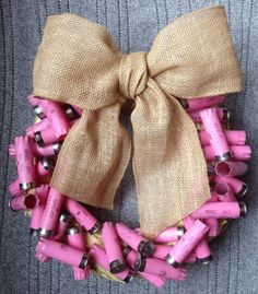Shotgun shell wreath, Breast cancer awareness, Country Girl, Adoption Fundraiser