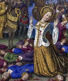 Saint Ursula and the 11,000 Virgins Les Grandes Heures d'Anne de Bretagne, Jean Bourdichon, Tours or Paris 1503-1508. BnF, Latin 9474, fol. 199v