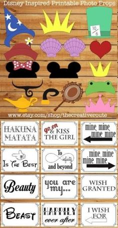 Disney Photo Props Printable Large Funny  DIY  24 photo booth props for party, wedding, or photo shoots. Photobooth props disney inspired. by Maiden11976