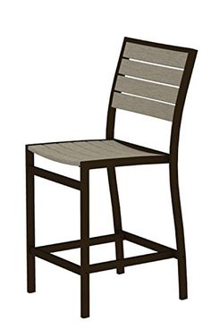 41 EarthFriendly Recycled Patio Counter Chair  Sand Brown with Bronze Frame ** Click image to review more details.