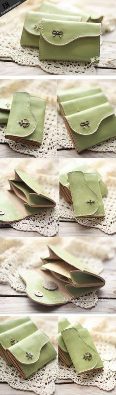Handmade light green cute leather small change coin wallet pouch purse   EverHandmade