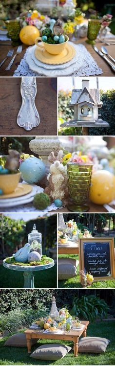 Cute Easter display! Love the menu sign and the centrepieces!