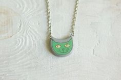 Handpainted Cat pendant Green Mint Light green Gray by MagicTwirl, $25.00