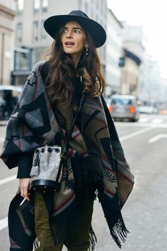 Blanket/Poncho style draped over a simple pant/t shirt combination