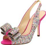 Open toe, sling back, high heel sandals with bow and multi-color sequins. Show stoppers for sure!