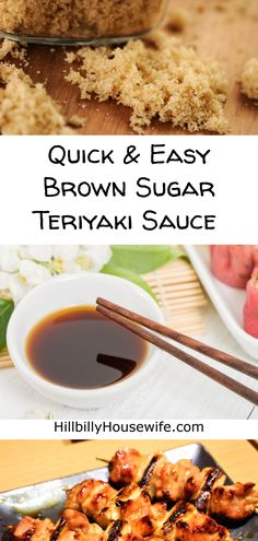 Easy Brown Sugar Teriyaki Sauce Did you know you can make your own teriyaki sauce with soy sauce, brown sugar, and a couple of other seasonings. It's so quick and easy, not to mention tasty. Easy Teriyaki Sauce Recipe, Chicken Teriyaki Sauce, Recipes With Soy Sauce, Teriyaki Marinade, Brown Sugar Chicken, Make Brown Sugar, Homemade Seasonings, Homemade Sauce, Terriyaki Sauce