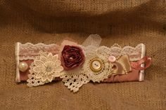 Handmade Vintage Shabby Chic Wedding Fabric cuff bracelet £12.00