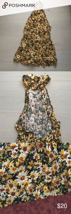 Sunflower print high-neck romper!! NWOT Boutique romper not free people!! Super adorable! brand- mystic. Low back with buttons, high neck sunflower print. Size small-medium Other