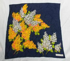 Vintage 1970 s CHRISTIAN DIOR Navy Yellow Floral Silk Scarf Collectable - UL Y96
