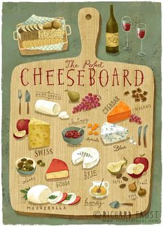 The perfect cheese board; by Richard Faust Art And Illustration, Food Illustrations, Recipe Drawing, Poster Art, Arte Sketchbook, Food Drawing, Cheese Drawing, Cheese Platters, Kitchen Art