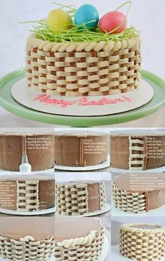 Cake Decorating Tutorials 24117 53 ideas for cake decorating piping design frosting tips Cake Decorating Frosting, Frosting Tips, Cookie Decorating, Easter Cakes Decorating, Frosting Techniques, Basket Weave Cake, Cake Basket, Basket Of Flowers Cake, Cake Decorating Techniques