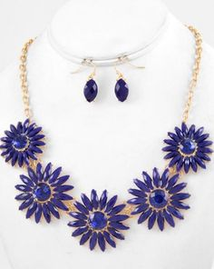 Blue Acrylic and Glass Necklace and Earring Set