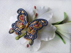 Купить Женская брошь Махаон - комбинированный, полимерная глина, брошь ручной работы