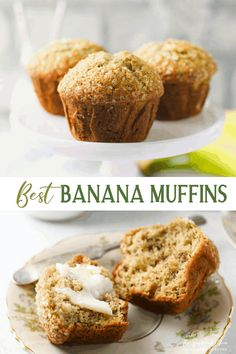 Put those overripe bananas to good use with the best recipe for Easy Banana Muffins! These simple, one-bowl, moist banana muffins are a perfect make-ahead breakfast or snack -- and they're freezer-friendly, too! Best of all, they rise high and have tall, puffy, sugar-coated domes. Add chocolate chips, nuts, or blueberries for the ultimate bakery-style treat! Best Banana Muffin Recipe, Moist Banana Muffins, Banana Recipes, Delicious Breakfast Recipes, Delicious Desserts, Recipes Dinner, Yummy Recipes, Holiday Recipes, Make Ahead Breakfast