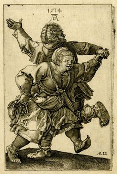 A peasant couple seen dancing holding hands; the male peasant seen from behind; after Dürer Engraving