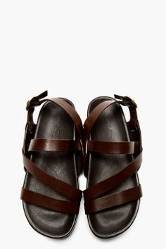 mens open toe leather sandals - (not between-toe flipflops) (size 9)