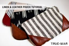 Tutorial: Linen and leather zippered pouch