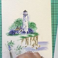 #WatercolorWednesday video featuring our Lighthouse & Cliff from our EZ…
