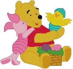 Cross Stitch Knit Crochet Plastic Canvas Waste Canvas Rug Hooking  Perler Bead Work Pattern  This is Winnie the Pooh and Piglet who have an Easter Basket a new hatched chick!  So cute!  This pattern is 159 X 151 Stitches (Squares) This pattern uses only 19 colors.  https://www.pinterest.com/resparkled/
