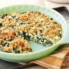 Spinach-Feta Bake This rich vegetable side dish pairs well with a light main dish, such as grilled fish or chicken.