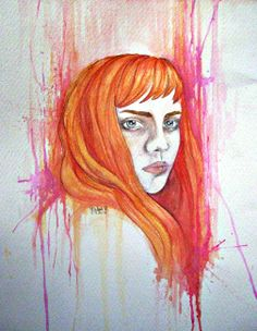 sel portrait, colored sketch: pencil and watercolors. © 2012
