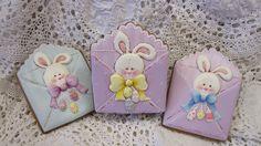 Easter Gingerbread decorated cookies bunnies, eggs