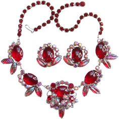 C1959 Juliana Ruby Red Oval Cabochon Rhinestone Necklace Earrings Set Book Piece DeLizza Elster