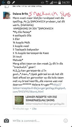 Bread Recipes, Snack Recipes, Cooking Recipes, Biltong, South African Recipes, Delicious Sandwiches, Afrikaans, Cheap Meals, How To Make Bread