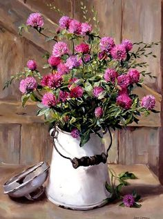 Publishers of Anne Cotterill Flower Art Oil Painting Flowers, Diy Painting, Watercolor Flowers, Watercolor Paintings, Art Floral, Deco Floral, Milk Cans, Milk Jug, Still Life Art