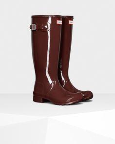 Women's Original Tour Gloss Rain Boots in Umber
