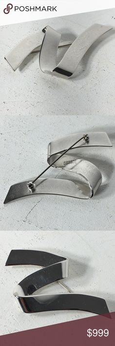 """Coming Soon - Vintage Silver Monet Zig Zag Brooch Fashion/Costume Brooch.  Metal Unknown. Years of purchased jewelry which has a history that I am unaware of so if you have allergies, keep that in mind. Always clean purchased jewelry.  Please ask all questions before purchasing. Good Used Condition - fading/discoloration of metal.  Sold """"As Is"""".  Wear Consistent with vintage Condition. Please remember, the pictures are your description, too, so please look at all of them. Sparkles & Happy…"""