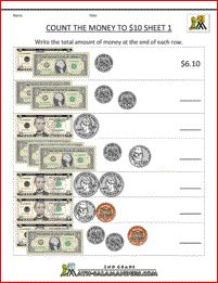 Printables Free Money Math Worksheets Printable counting dollars and cents printable worksheets give a like for money to 10 sheet 1