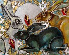 Three Moon Gazing Hares Animal Art Print by by LynnetteShelley, $30.00