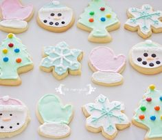 Best Vanilla Almond Sugar Cookie Cut-Out recipe - no refrigeration needed + How to decorate mittens, trees, Frozen snowflakes & snowmen w/ royal icing