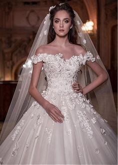 Buy discount Junoesque Tulle Off-the-shoulder Neckline Ball Gown Wedding Dress With Lace Appliques & 3D Flowers & Beadings at Dressilyme.com #laceweddingdresses