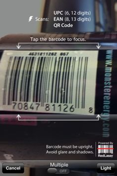 RedLaser. Scans QR, UPC, EAN, UPC-E and EAN-8 barcodes, etc. Also searches for online and local prices from hundreds of thousands of retailers.