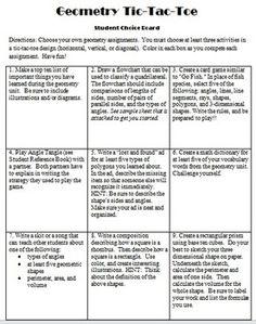 Geometry Tic Tac Toe Board Grade 5 - Great for student choice -Danielson Framework