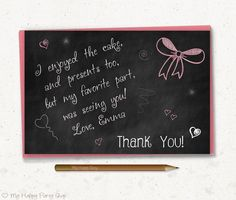 """Chalkboard Thank You Card, Girl favor card, girl birthday party, doodle thank you  - PRINTABLE, 4""""x6"""""""