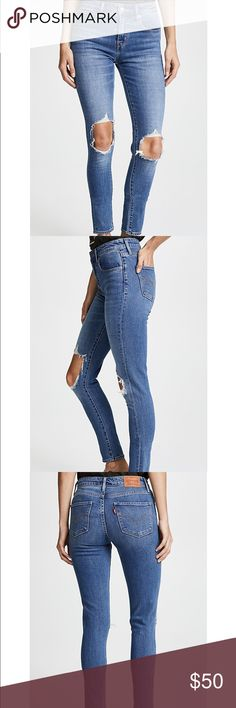 Levi's 721 High Rise Distressed Jeans Highly trending style Levi's. Figure flattering. Low stretch denim. High-rise. Distressed. No flaws. Levi's Jeans Straight Leg