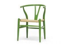 Baxton Studio Mid-Century Modern Wishbone Chair - Green Wood Y Chair | Living Room Furniture | Interior Express