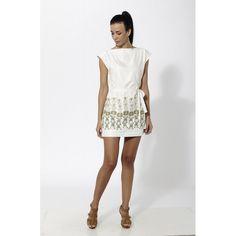 Vestido corto estampado de poli crepe con cinturos de tela, cuello barca y espalda abierta Blanco - Mauna Barcelona - fashion - moda