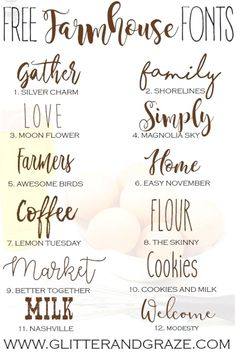 Free Farmhouse Fonts for design, Cricut, sewing patterns and more. svg files for cricut farmhouse Free Farmhouse Fonts Polices Cricut, Schriften Download, Vinyl Projects, Craft Projects, Cricut Project Ideas, Craft Ideas, Decor Ideas, Farmhouse Font, Farmhouse Signs