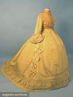 PARIS YELLOW SILK PROMENADE DRESS, c. 1868