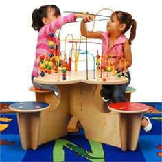 Anatex Fleur Rollercoaster Table with 4 Attached Seats   Wire Bead Play Tables   Office Waiting Room Toys