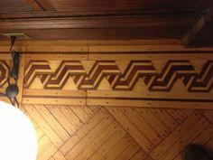 Old wood floor with inlay