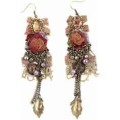 Krista R Vintage Roses, Embroidered Earrings ($68) ❤ liked on Polyvore