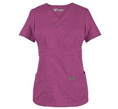 Amazon.com: Scrubs - Grey's Anatomy by Barco Uniforms Junior Fit for Women #4153 3 Pocket Mock Wrap Scrub Top: Clothing