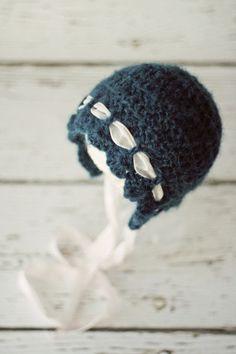Crochet Newborn Bonnet Photo Prop by PBlossomBoutique