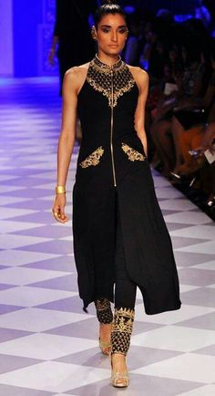 Black and gold high neck pujama suit